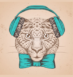 Hipster animal guepard hand drawing muzzle of vector