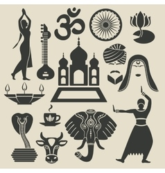 india exotic icons set vector image