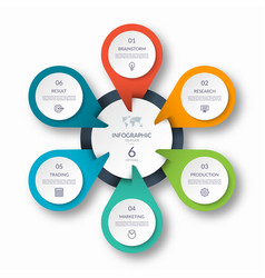 infographic circle diagram template with 6 options vector image