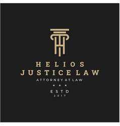 initial letter h for law firm logo icon design vector image