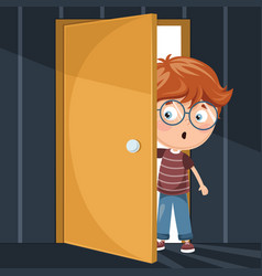Kid entering dark room vector