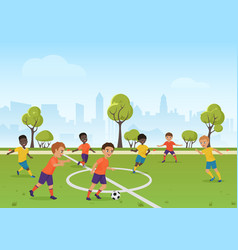 kids soccer game boys playing soccer football on vector image