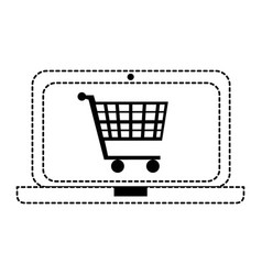 laptop computer with cart shopping vector image