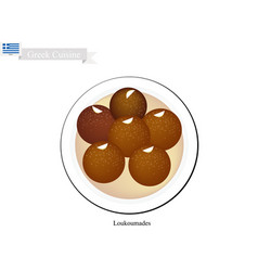 loukoumades or greek dessert balls with sweet syru vector image