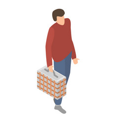 man with basket icon isometric style vector image