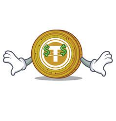 Money eye tether coin mascot cartoon vector