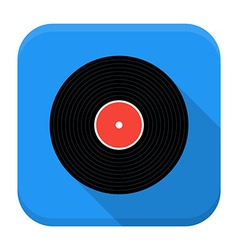 Music vinyl record flat app icon with long shadow vector image