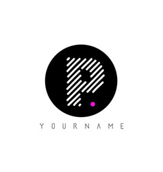 p letter logo design with white lines and black vector image