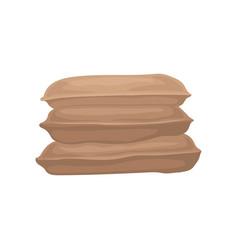 Pile of big burlap sacks three brown textile vector
