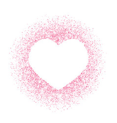 Pink glitter heart frame border dust vector