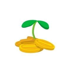 Plant and coins cartoon icon vector image