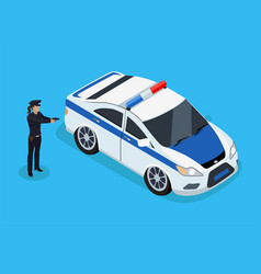 Police officer and car icons vector