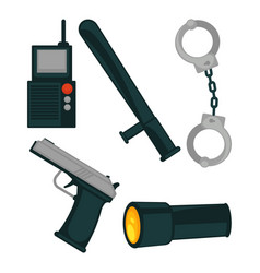 Policemans basic work equipment isolated cartoon vector