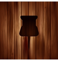 Pushpin web icon Wooden background vector