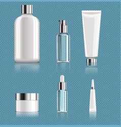 realistic blank cosmetic packages set vector image