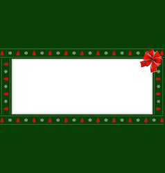 Rectangle festive border banner with red ribbon vector