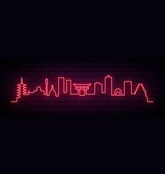 Red neon skyline hiroshima city bright vector