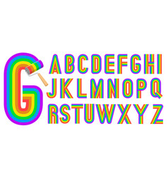 Retro style rainbow alphabet vector
