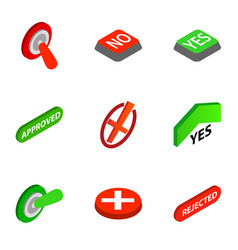 right and wrong icons isometric 3d style vector image