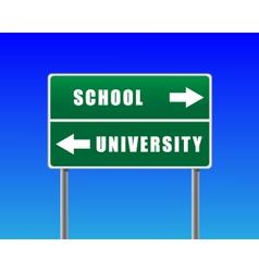 Roadsign school university sky background vector