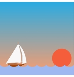Sailing Boat with Sunset vector image