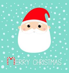 santa claus face head round icon merry christmas vector image