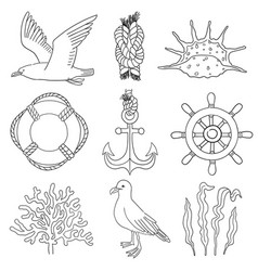 Sea hand draw sketch set marine clipart vector