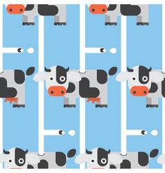 Seamless cow and milk pattern animal vector