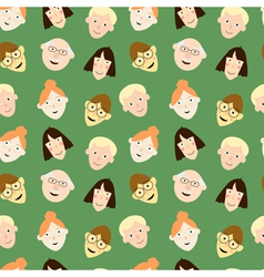 seamless pattern with cartoon faces vector image