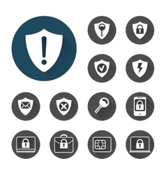 Security icons set with shadows vector image
