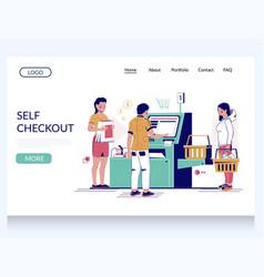 Self checkout website landing page design vector