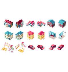Set building children playground car vector