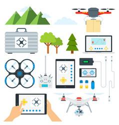 set drone tools flat vector image