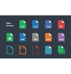 set video file formats icons vector image