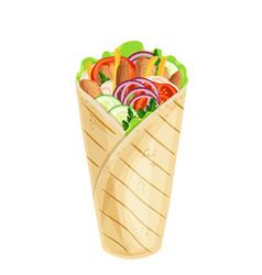 Shawarma or chicken wrap vector