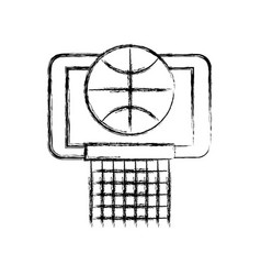 Sketch draw basket ball in the hoop cartoon vector