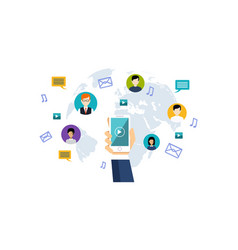 social media network people connecting all over vector image
