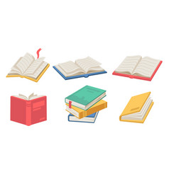 stack open books with bookmarks textbooks set vector image