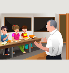 teacher teaching college student vector image