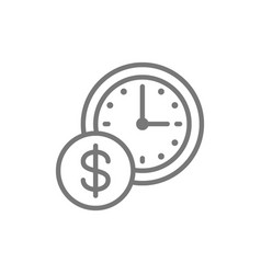 Time is money clock with coin line icon vector