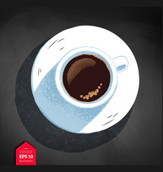 Top view of coffee cup vector