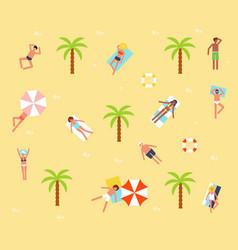tourists on sand beach vector image