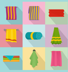 towel hanging spa bath icons set flat style vector image