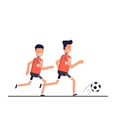 Two football players running after the ball Team vector