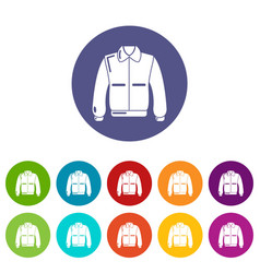 varsity jacket icons set color vector image