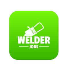 welder icon green vector image