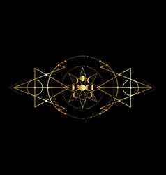 Whases moon and triple moon golden wiccan vector