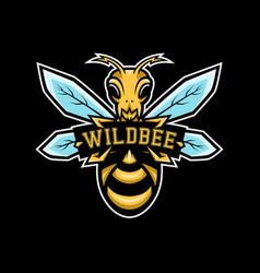 wild bee sport logo or mascot logo vector image