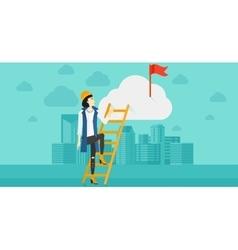 Woman climbing the ladder vector