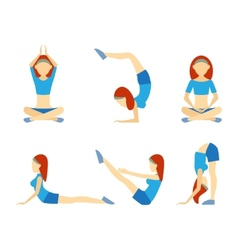Yoga girl in six positions vector